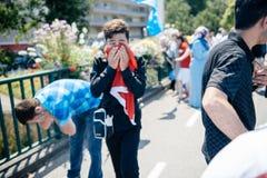 Protesta de los activistas de los derechos humanos de Uyghur Imagen de archivo
