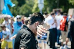 Protesta de los activistas de los derechos humanos de Uyghur Fotos de archivo libres de regalías