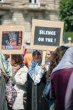 Protesta de los activistas de los derechos humanos de Uyghur Fotografía de archivo