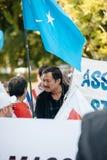 Protesta de los activistas de los derechos humanos de Uyghur Imagenes de archivo