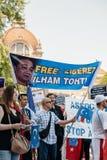 Protesta de los activistas de los derechos humanos de Uyghur Fotografía de archivo libre de regalías