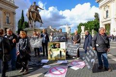 Protesta de los pintores de la calle en Roma Imagen de archivo libre de regalías