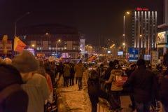 Protesta de los rumanos contra el decreto de la corrupción Fotografía de archivo