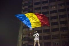 Protesta de los rumanos contra el gobierno Foto de archivo