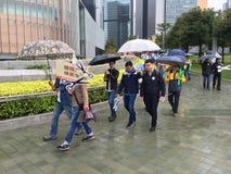 Protesta de los trabajadores de construcción en Hong Kong Fotos de archivo libres de regalías