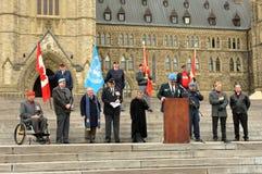 Protesta de los veteranos en la colina del parlamento Fotografía de archivo libre de regalías