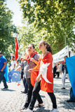 Protesta degli attivisti di diritti umani di Uyghur Immagini Stock Libere da Diritti
