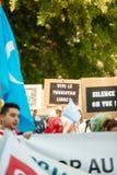 Protesta degli attivisti di diritti umani di Uyghur Fotografie Stock Libere da Diritti