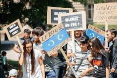 Protesta degli attivisti di diritti umani di Uyghur Immagine Stock