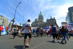 Protesta dei lavoratori nel congresso dell'Argentina Immagini Stock Libere da Diritti