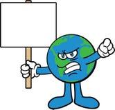 Protesta del carattere della mascotte del fumetto della terra Fotografie Stock Libere da Diritti