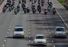 Protesta del combustible - escolta policial Fotos de archivo
