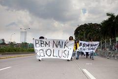 Protesta del estudiante contra la subida del precio del petróleo Fotografía de archivo