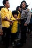 Protesta del estudiante contra la subida del precio del petróleo Foto de archivo libre de regalías