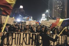 protesta del #rezist, Bucarest, Rumania Fotografía de archivo libre de regalías