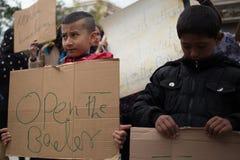 Protesta del rifugiato a Atene Fotografie Stock Libere da Diritti