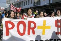 Protesta dell'allievo nel Cile Fotografia Stock Libera da Diritti
