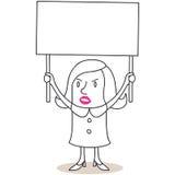 Protesta della donna con il segno in bianco Fotografia Stock Libera da Diritti