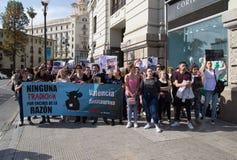 Protesta della tauromachia nelle vie di Valencia, Spagna immagini stock