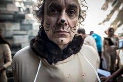 Protesta di Animalisti Italiani contro Milan Fashion Week su Septem Fotografia Stock Libera da Diritti