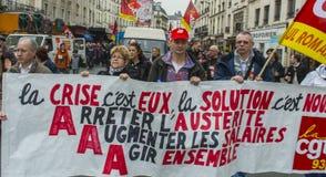 Protesta di Anti-Austerità, Parigi Immagini Stock