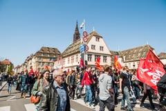 Protesta di aprile contro le riforme del lavoro in Francia Immagini Stock Libere da Diritti