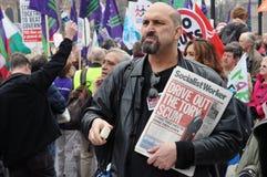 Protesta di austerità di Londra fotografia stock