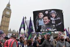 Protesta di austerità di Londra fotografia stock libera da diritti