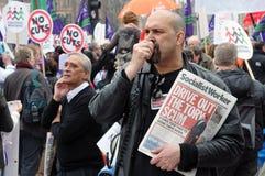 Protesta di austerità di Londra immagini stock libere da diritti