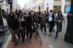 Protesta di austerità a Londra fotografia stock libera da diritti