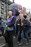 Protesta di austerità a Londra immagini stock libere da diritti