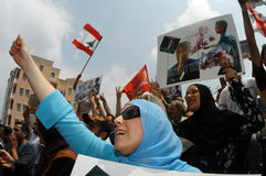 Protesta di Beirut Hezboullah Fotografie Stock Libere da Diritti