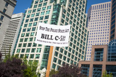 Protesta di Bill C-51 (Legge del Anti-terrorismo) a Vancouver Fotografie Stock