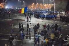 Protesta di Bucarest contro il governo Fotografia Stock Libera da Diritti