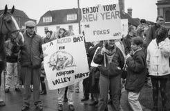 Protesta di caccia di Fox, Inghilterra Immagini Stock