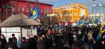 Protesta di Euromaidan in Kyiv vicino a Taras Shevchenko University. Immagine Stock Libera da Diritti