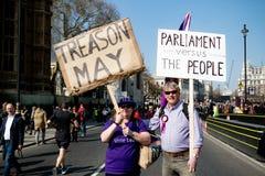 Protesta di giorno di Brexit a Londra fotografie stock libere da diritti
