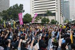 Protesta di Hong Kong contro di piano di bilancio il 6 marzo Immagine Stock