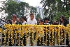 Protesta di Hong Kong sopra le morti dell'ostaggio di Manila Immagine Stock Libera da Diritti