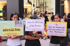 Protesta di Hong Kong sopra le morti dell'ostaggio di Manila fotografia stock libera da diritti