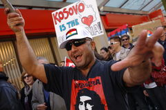 Protesta di indipendenza del Kosovo Fotografia Stock