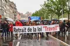 Protesta di maggio contro le riforme del lavoro della Francia Fotografia Stock