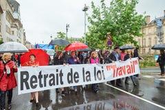 Protesta di maggio contro le riforme del lavoro della Francia Fotografia Stock Libera da Diritti