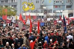 Protesta di opposizione in Prishtina, il Kosovo fotografie stock libere da diritti