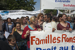 Protesta di Parigi contro le espulsioni di Roma Fotografia Stock