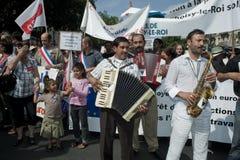 Protesta di Parigi contro le espulsioni di Roma Fotografia Stock Libera da Diritti