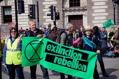 Protesta di ribellione di Exctintion a Londra centrale immagini stock libere da diritti