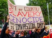 Protesta el día de Australia Imagenes de archivo