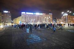 Protesta en Bucarest, Rumania Foto de archivo