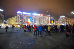 Protesta en Bucarest, Rumania Imágenes de archivo libres de regalías